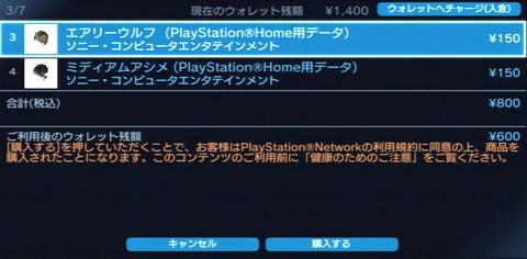 プレイステーション ネットワーク カードの残金でPS Homeのアバターアイテムを購入...②.JPG