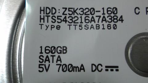 PS3 CECH-3000A のHDDは160GB⑤.JPG