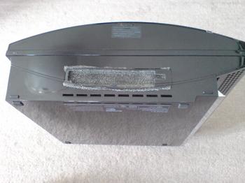 PS3 60GB SSD換装 20 HDDベイカバー&フィルター(自作)をPS3 60GBに装着.JPG